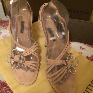 Louis Vuitton Blush Suede Sandals-Swarovski Fleur